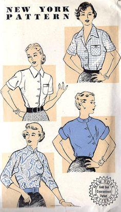 1950s Misses Over Blouse Vintage Sewing Pattern
