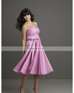 Rouched A-line Strapless Tea-Length Bridesmaid Dresses