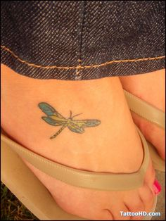 Small Dragonfly Tattoo On Foot