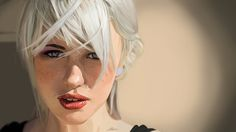 DIgital painting of a girl with white hair