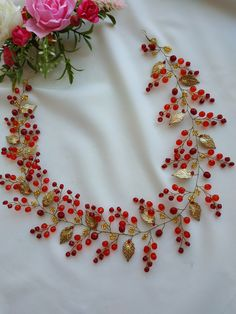 Red Bridal Hair, Bridal Hair Vine, Bridal Crown, Bridal Headpieces, Headpiece Wedding, Celtic Hair, Handmade Wire Jewelry, Wedding Hair Pieces, Beads And Wire