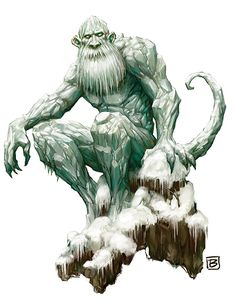Chenoo (Elemental/Humanoid/Giant)(Huge) – When the Frost Giant evolves its already cold heart will be frozen so deep that its flesh, bones and blood will be transformed into solid ice. Their hearts will take the form of a man made of ice, and only by crushing this animated heart you can kill a Chenoo. These giants are the loyal followers of the Snow Queen and two stand guard at her throne at all times. Their breath is so cold it can freeze a small army solid. (Native American)