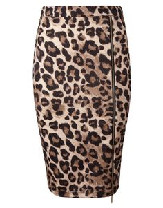 Kardashian Animal Print Zip Pencil Skirt