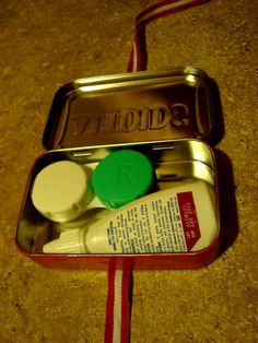 Contact lens kit from Altoids tin. This would be great to make a kit for supplies you may need for braces!