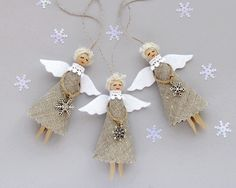 Christmas Tree Ornaments – Burlap Christmas Angels, Rustic Ornaments SET of 3 – a unique product by VasilinkaStore on DaWanda