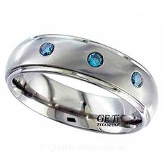 Geti Titanium Blue Diamond Ring. Titanium & Diamond Wedding Rings.