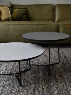 Roy round coffee table with a gray Concrete Ciré top - Woonwinkel - - Table Furniture, Cool Furniture, Furniture Design, Center Table Living Room, Living Room Decor, Rustic Home Design, Round Coffee Table, Living Room Inspiration, Interior Design