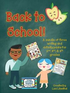 Back to School - This is a bundle of three writing activity packs to start off the school year with your or graders. Students will love the fun and engaging activities and projects! Brainstorming Activities, First Day Activities, Back To School Activities, Kindergarten Activities, Book Activities, Teaching Ideas, Writing Ideas, School Ideas, 4th Grade Writing