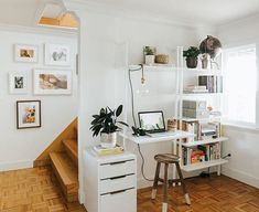 hack: wall mount everything. We made this little passageway nook into a functional and beautiful home office space that… Home Office Space, Home Office Design, Home Office Decor, Home Interior Design, House Design, Home Decor, Office In Bedroom Ideas, Office Desk, Teen Room Decor