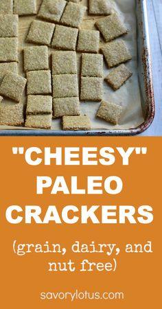 """Cheesy"" Paleo Crackers (grain, dairy and nut free) - savorylotus.com"
