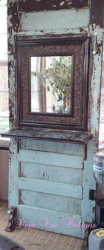 Old door turned wall tree