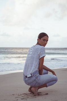Linen | women collection | free in st barth | st barth lifestyle | 100% linen and jaunty stripes give this tee an updated sailor look