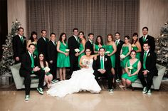 Wedding party group shot at hotel