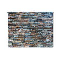Rolgordijn Stenen muur patroon   De rolgordijnen van YouPri zijn iets heel bijzonders! Maak keuze uit een verduisterend of een lichtdoorlatend rolgordijn. Inclusief ophangmechanisme voor wand of plafond! #rolgordijn #gordijn #lichtdoorlatend #verduisterend #goedkoop #voordelig #polyester #stenen #muur #steen #leisteen #patroon