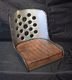 Bomber-Seat-Hot-Rod-Seat-Rat-Rod-Seat-with-Lighteneing-Holes-and-Brown-Cushion