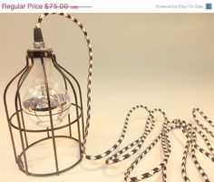 ON SALE Black Industrial Hanging Cage Lamp Light by GlassRedux, $63.75