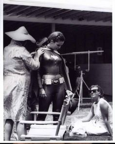Yvonne Craig behind the scenes of the TV show Batman.