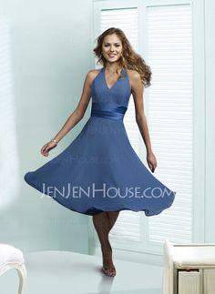 Bridesmaid Dresses - $90.99 - Brilliant A-Line/Princess Halter Tea-Length Chiffon Bridesmaid Dress with Ruffle (007001804) jenjenhouse.com