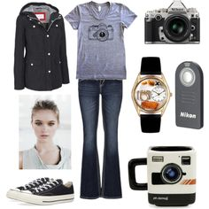 Photographer by hugsnotdrugs85 on Polyvore featuring Jessica Simpson, maurices, Whimsical Watches, Converse and Nikon