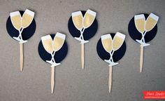 CHAMPAGNE Celebration //  Cupcake Toppers, Party Picks, Food Picks // CUSTOM Black Tie - Wedding - Bridal Party Decoration (Set of 12)