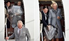 Camilla is caught in the wind