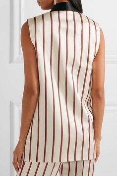 Lanvin - Embellished Striped Satin-jacquard Vest - Beige - FR38