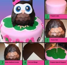 fondant owl cake tutorial - the secret is to use rice crispy treats underneath
