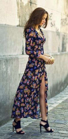 Gorgeous floral v-neck modern summer maxi dress with gold clutch and black cute high heels sandals and cute gold necklace the best street fashion inspiration  looks