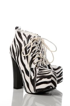 Just for 5£...Zebra Faux Fur Thick Heeled Boots