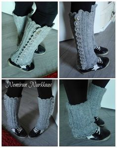 Nemiran Nurkkaus: Virkatut säärystimet napituksella Crochet Socks, Knit Crochet, Fashion Socks, Crafts To Do, Leg Warmers, Crochet Patterns, Slippers, Knitting, Accessories