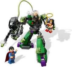 LEGO Set 6862-2: Superman Vs Power Armor Lex.  Superman's arch enemy Lex Luthor has built a kryptonite-powered robot and has captured Wonder Woman. Can Superman™ dodge the strength-sapping power of Luthor's kryptonite gun and make light work of his evil nemesis!