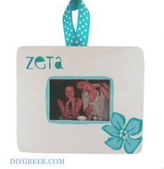 ZTA  Zeta Tau Alpha Small Frame.  Used Custom Stencils, Ribbon, Violet Stencil and Zeta Themed Stencil, Paint, and Saying Sheet from DIYGreek.com. Frame comes with magnet too