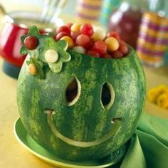 Smiling watermelon filled with melon balls