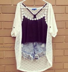 Shirt: daisy, black, oversized cardigan, shorts, pretty, cute, all ...