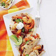 Shrimp Fajitas with Mango-Lime Slaw | MyRecipes.com