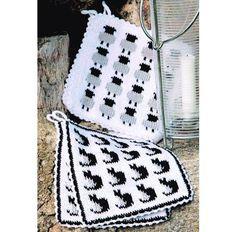 No pattern or link - bust for inspiration ☆ Endast foto för inspiration ☆ Stickade grytlappar med katter och får Crochet Dishcloths, Knit Crochet, Double Knitting, Fiber Art, Pot Holders, Diy And Crafts, Crochet Patterns, Outdoor Blanket, Tapestry