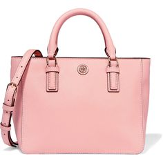 Tory Burch Robinson mini textured-leather tote (£223) ❤ liked on Polyvore featuring bags, handbags, tote bags, antique rose, mini purse, tote purses, handbags totes, tory burch handbags and zip tote bag