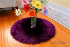 Luxurious Nursery Area Rug Round Nonslip Suede Backing Eggplant Lavender Faux Fur Boy or Girl Bedroom Modern Accents Home Decor Oval Rugs, Round Area Rugs, Nursery Area Rug, Nursery Decor, Pink Yellow, Blue And White, Shaggy, Girls Bedroom, Colorful Rugs