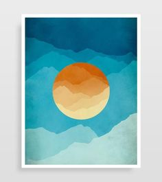 Mid Century Modern inspired abstract art print. This modern wall art is in orange and blue is great as living room or office decor.
