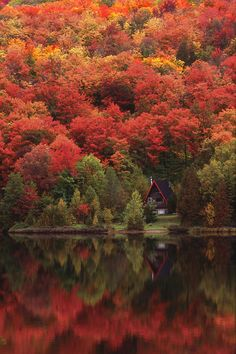 Autumn At The Lake, Laurentians, Quebec, Canada