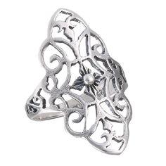 Sterling Silver Medium Flower Filigree Band Ring Sizes: 7, 8, 9, 10