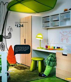 ikea kids desk & storage area in bedroom