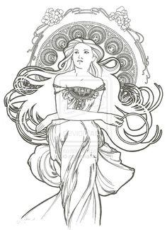 coloring page - Art Nouveau Unicorn Coloring Pages