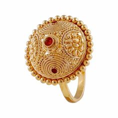 Gold Glossy Finish Traditional Design With Enamel Gold Gold Rings Jewelry, Gold Jewellery, Gold Earrings, Gold Pendant, Pendant Jewelry, Beaded Jewelry, Antique Rings, Antique Gold, Latest Ring Designs