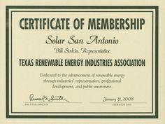 Solar San Antonio Certificate - Bill Sinkin. UTSA Libraries Special Collections.