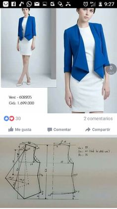 Discover thousands of images about Best 11 Outfit: blazer, curved hem tee, skinny jeans Item: curved hem tee – SkillOfKing. Coat Patterns, Dress Sewing Patterns, Sewing Patterns Free, Clothing Patterns, Pattern Sewing, Free Pattern, Blazer Pattern, Jacket Pattern, Costura Fashion