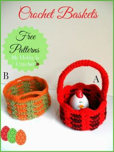 Crochet Easter basket and small storage basket- 2 FREE crochet patterns  #crochet #freepatterns #myhobbyiscrochet