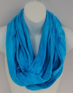 Turquoise tie dye infinity scarf in by qualicumclothworks on Etsy