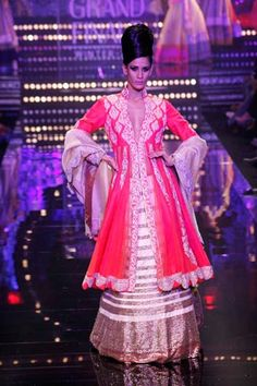 Combine beige,gold and neon pink to get this oh-so-fresh look by Manish Malhotra !