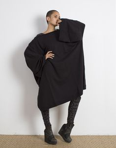 Black Oversized Sweatshirt Cotton French Terry